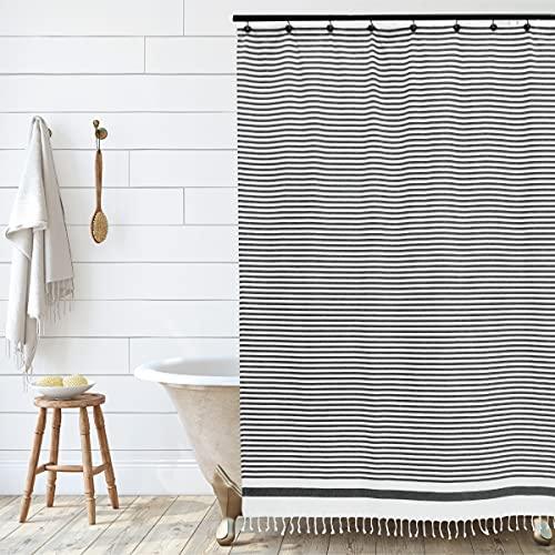 Hall & Perry Catalina Stripe Tassel Shower Curtain 100% Cotton Striped Fabric Shower Curtain with Tassels for Bathroom Decor, 72x72- Black and White Stripe