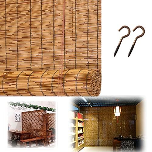 ASDFGHJ Cortinas de Caña de 100 cm X 190 cm, Estores de Bambú Transpirable con Ganchos, Se Utiliza para Terrazas/cocinas/Cortinas Decorativas, Se Pueden Personalizar Varios Tamaños