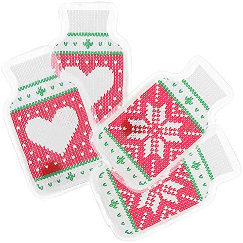 4 calentadores de bolsillo reutilizables para manos y dedos dise/ño con motivos de Navidad para ni/ños y adultos