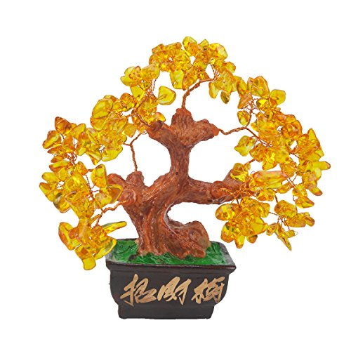 Feng Shui Citrien Crystal Gem Stone Money Tree + Gratis Mxsabrina Rode String Armband SKU: V1032