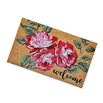 "Coir Door Mat with Attractive Design for Outdoor Use - 18"" X 30"" Doormat with 0.6"" Plush (Peony Flowers)"