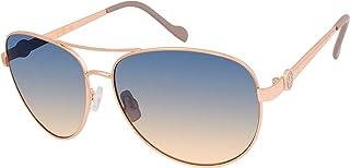 Women's J5596 Metal Aviator Sunglasses with Signature JS Enamel Logo Temple & 100% UV Protection, 60 mm