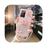 Fun-boutique Schutzhülle für Galaxy Note 20, Silikon-Schutzhülle mit Glitzer, für Samsung Galaxy S21 S20 FE S10 S9 Note 20 10 9 8 Plus Gurt Ultra Slim Pink mit Rope-for Galaxy A51 5G