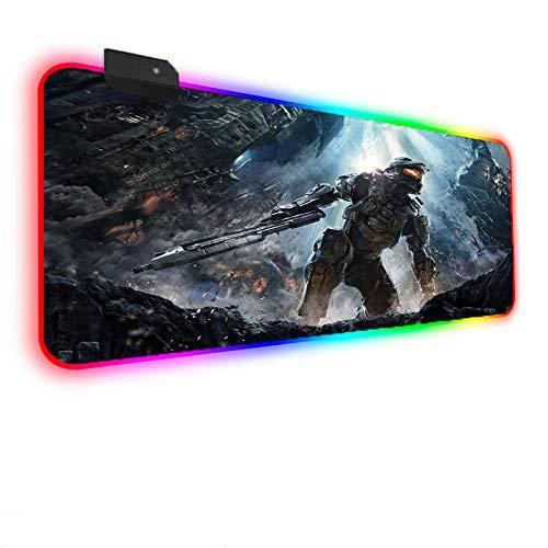 RGB XXL Mouse Pad Halo Gaming Stitched Edges Non-Slip Rubber Base Large Illuminated LED Mouse Mousepad-900×400MM