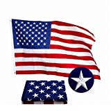 Yafeco American USA US Flag 3x5 ft Deluxe Embroidered Stars Sewn Stripes Brass Grommets