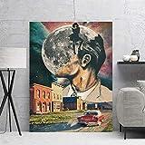 wZUN Arte de Pared Lienzo Pintura Cartel impresión Ciudad Luna Diagrama trapezoide Cielo Imagen decoración del hogar 60x85cm Sin Marco