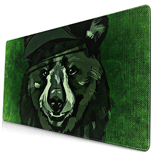 BFGTH Mauspad Green Background Vietnamese Warrior Bear Extended Gaming Mouse Keyboard Pad with Stitched Edges 15.8 X 29.5 Inch Non-Slip Rubber Base Office & Home Large Mousepad Desk Mat,Mouse Pad