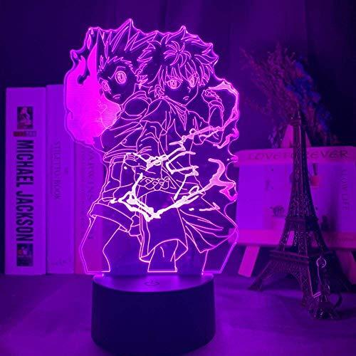 Gon y Killua figura luz de noche anime hunter X hunter luz de noche 3D para niños decoración de dormitorio iluminación niños hacen lámpara de mesa productos