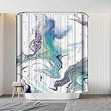 Marmor Duschvorhang schimmelresistent waschbar 180 x 180 cm Badezimmer Gardinen Blau Weiß Marmor Textur Wasserdicht Abstrakt Kunst Badvorhang mit 12 Haken