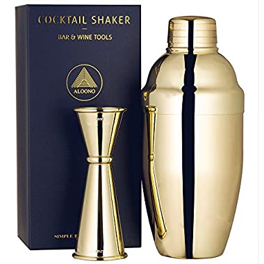 ALOONO Cocktail Shaker Set by 18oz Weighted Martini Shaker and Japanese Jigger (0.5oz - 2oz), 18/8 Professional Stainless Steel Cocktail Set with Recipes and Greeting Card - Gold Plated