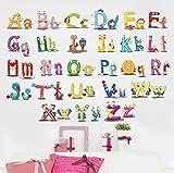 iTemer Pegatinas pared decorativas Vinilos decorativos pared dormitorio Stickers Decoracion pared Estilo único Alfabeto inglés coloreado 45 * 60cm Niños aprendiendo 1 set