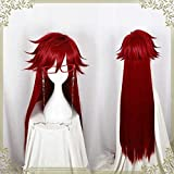 Youdert Kuroshitsuji Black Butler Grell Sutcliff Red Long Straight Heat Resistant Hair Cosplay Costume Wig Without Skull Chain Glasses