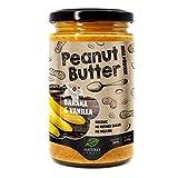 Manteca de cacahuete con plátano y vainilla 100% orgánica y sabrosa | 350g | Sin azúcar añadido, sin aceite de palma | Crujiente tostado original I Compatible con dietas Vegana, Paleo y Keto.