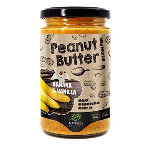 Leckere 100 %-Bio-Erdnussbutter Banane & Vanille | 350 g | Kein zugesetzter Zucker, kein Palmöl | Einfach zu verdauen | Angereichert mit veganen Proteinen | Vegan, Paläo-Diätisch und Keto-Diätisch