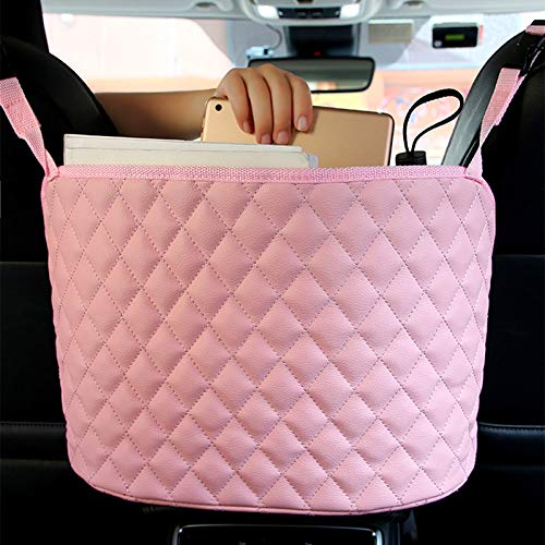 Maylai Pink Handbag Holder for Car Durable Pu Leather Car Net Pocket Car Seat Storage Net Bag Driver Storage Netting Pouch Seat Back Net Bag Backseat Pet Kids Barrier