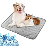 Chstarina Dog Cat Mat Bed Self Cooling Non Toxic Mat Pad Pet Ice Silk Cooling Mat Cool Fabric Soft Pets Summer Autunm Sleeping Mattress for Dogs Cats Puppy 62 * 50 cm Gray