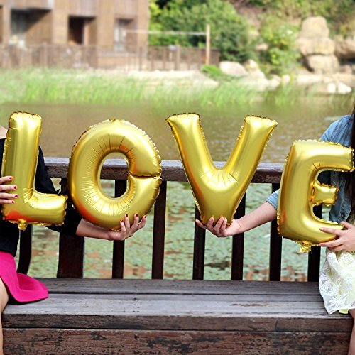 """Ulike2 4pcs/lot 40"""" Super Big Letter Balloon Gold/silver Love Helium Balloon Wedding Party Decoration Balloons"""