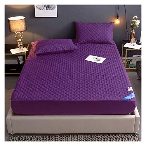 QIANGU Protector Colchón Impermeable Funda Colchón Transpirable Antideslizante Antipolvo Absorción De Sudor Algodón (30 Cm De Profundidad) (Color : Purple, Size : 180x200cm)