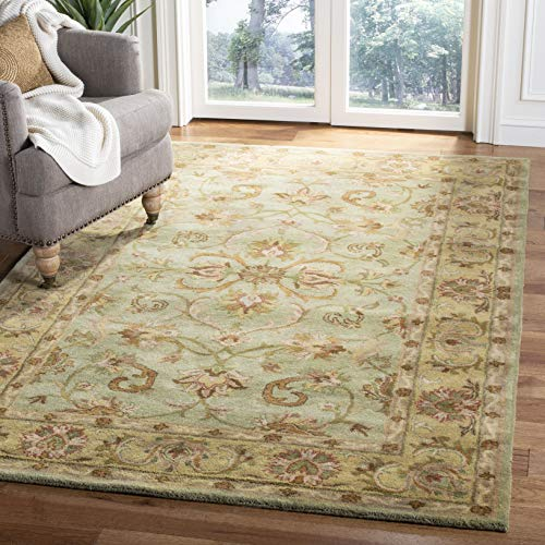 Safavieh Heritage Collection HG811A Handmade Traditional Oriental Premium Wool Area Rug, 9' x 12', Green / Gold