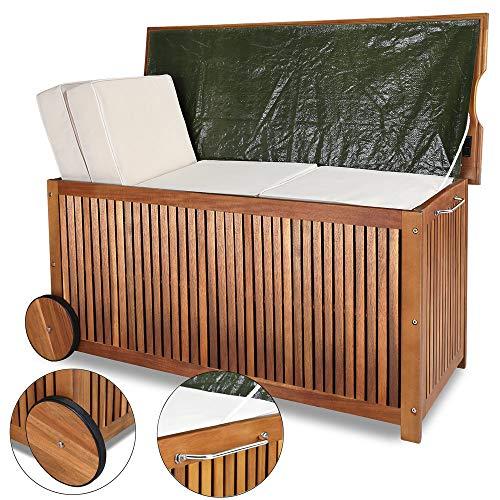 Gartentruhe Auflagenbox mit Rädern 117cm Akazie - 2