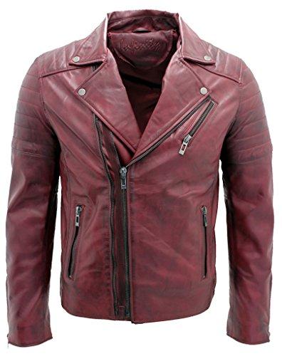 Los hombres borgoña delgada cruz de la vendimia zip chaqueta de motociclista de cuero Brando
