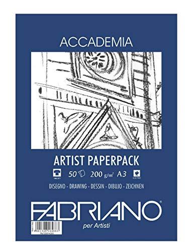 Honsell 50813200 - Fabriano Accademia Zeichenpapier, Block kopfgeleimt, 200 g/m², DIN A3, 50 Blatt, matt, säurefrei und alterungsbeständig, sehr radierfest
