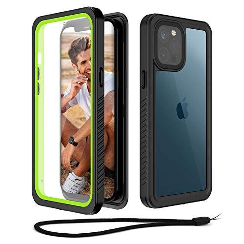 Beeasy Funda Antigolpes para iPhone 12 Pro MAX,IP68 Certificado Sumergible Carcasa,360 Grados Protección con Protector de Pantalla Incorporado,Militar Antichoque Estanca Impermeable,Negro + Verde