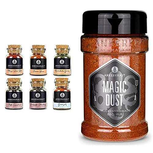 Ankerkraut Grill Set, 6 Gewürze für Männer! & Magic Dust, 230g im Streuer, BBQ-Rub Grillmarinade, Gewürzmischung zum Zubereiten von Fleisch