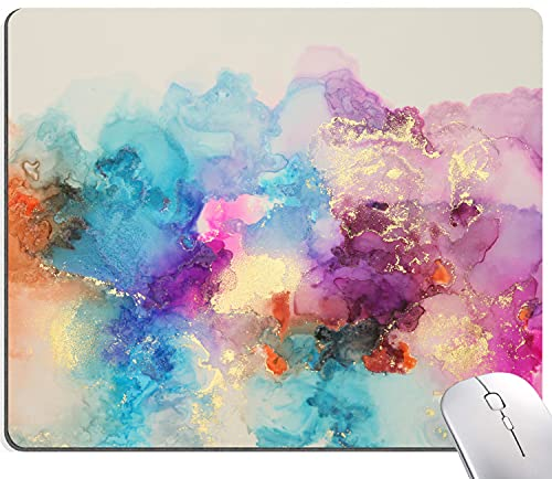 """Watercolor Pink Blue Gold Marble Mouse Pad, Colorful ATR Mouse Mat, Square Waterproof Mouse Pad Non-Slip Rubber Base MousePads for Office Home Laptop Travel, 9.5""""x7.9""""x0.12"""" Inch"""