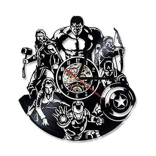 Usmnxo Reloj de Escritorio de Vinilo Reloj de Pared de cómics creativos LED con lámpara de 12 Pulgadas (30 cm)