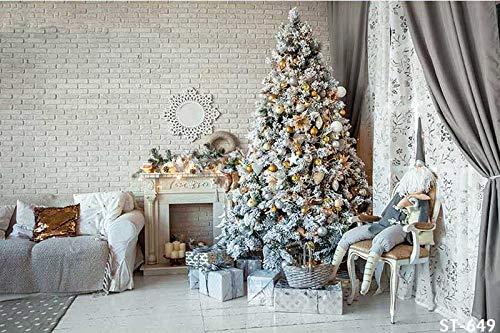 Kerst Decoraties Boom Venster Gordijnen Open haard Kamer achtergronden Vinyl doek Computer print partij achtergrond