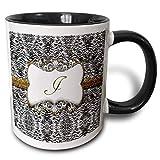 Elegante diseño de animal en la espalda con marco dorado, monograma, letra J, taza/blanco, taza de café de cerámica, taza de té para café, regalo de cumpleaños único para festivales de 11 oz