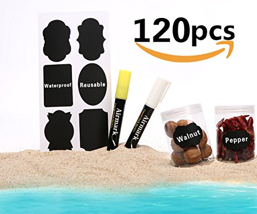 Chalkboard Labels,Airmark 2018 New 120pcs Waterproof Reusable Chalkboard Stickers with 2 Erasable Chalk Markers Window Pens for Mason Jars,Canisters,Glass Bottles and Home & Office Pantry