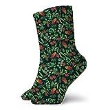 leyhjai Australian Botanical {Dark Green} Calcetines unisex suaves para todo tipo de estaciones Calcetines deportivos cortos de ocio 30cm