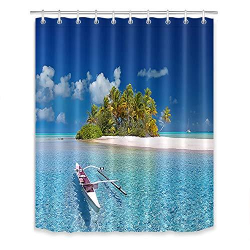 Vue sur la mer Rideaux de Douche avec Crochets Ciel Bleu Océan Île verteÀ Motifs Longs Rideaux de Bain Résistant à l'eau Tissu Polyester Anti Moule Décor de Salle de Bain 150X180 CM