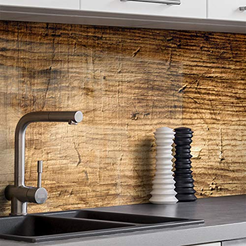 BilderKing Küchenrückwand selbstklebend 180cm x 60cm alte Holz-Wand, Optik Spritzschutz für Ihre Küche in Glasoptik, Absolute Deckung und Haftung auf Fliesenspiegel und sonstigen Untergründen