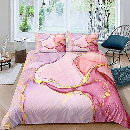 HUA JIE Girly Marble Bedding Set Twin Size Marble Printed Duvet Cover Gold Glitter Pink Purple Marble Abstract Art Comforter for Girls Kids