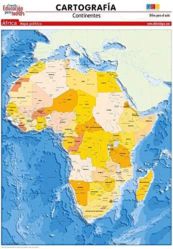 Mapa De África. político   Láminas didácticas   Material escolar y educativo (cartografía)
