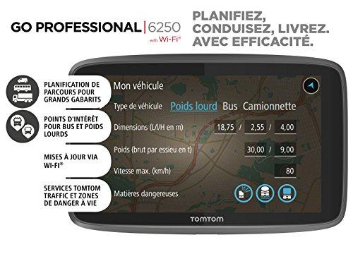 TomTom GPS Poids Lourds GO Professional 6250 - 6 pouces, Cartographie Europe 49, Trafic via Carte...