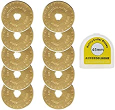 AUTOTOOLHOME Titanium Rotary Cutter Blades 45mm 10 Pack Replacement Quilting Scrapbooking Sewing Arts Crafts Farbric Paper Cutting Tool
