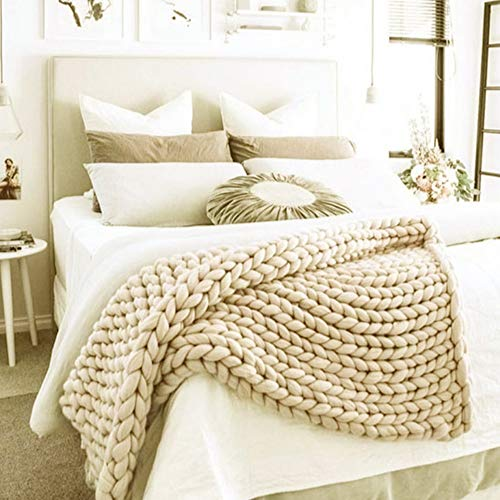 valentinyii Chunky Knit Blanket - Soft Hand Knitted Blanket Sofa Bed Throw - Cozy Giant Yarn Chunky...