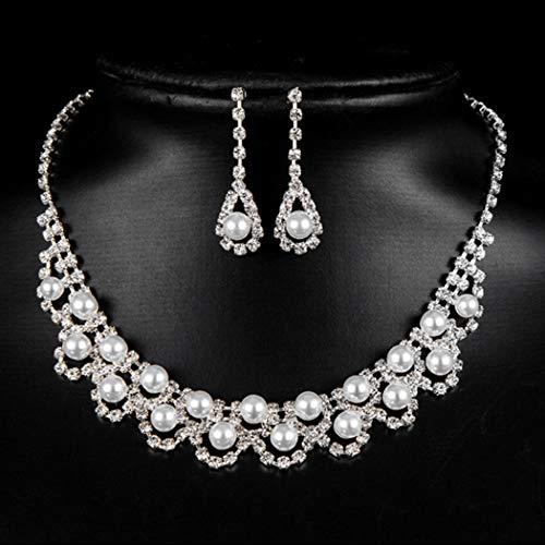 Handcess Collar de cristal nupcial con perlas plateadas, collares con diamantes de imitación, pendientes de boda, conjuntos de joyería para mujer