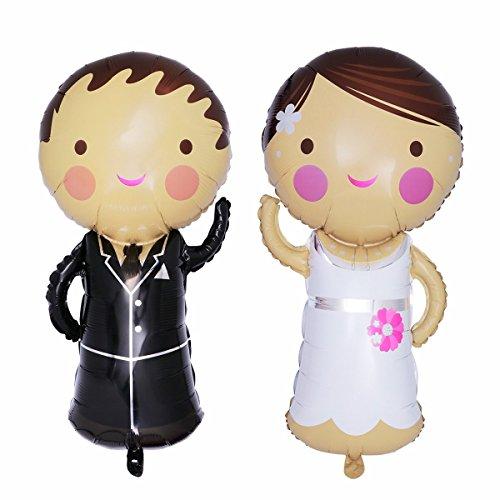 Miya Super XXL Romantische Love Brautpaar Folienballon Hochzeit Braut Mr. & Mrs. Folienballon (117cm x 76 cm) (40x 30)