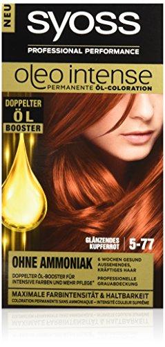 Syoss Oleo Intense Haarfarbe, 5-77 Glänzendes Kupferrot, 3er Pack (3 x 115 ml)