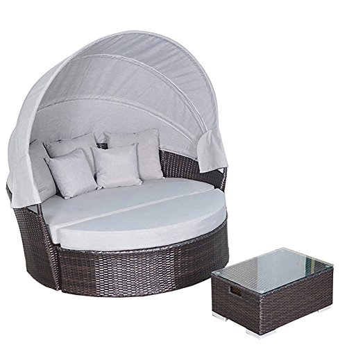 YOTO RATTAN Victoria Outdoor Daybed with Canopy, Full assembled Aluminium Frame