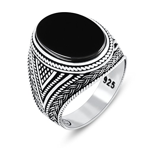 chimoda Mens Rings with Black Onyx Stone in 925 Sterling Silver with Vintage Eastern Motifs Men's Jewelry (12.5)