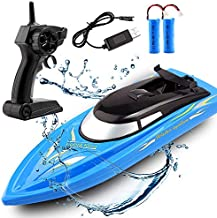 Wemfg RC Boat Remote Control Boats for Pools and Lakes, RH701 15km/h High Speed Mini Boat Toys for Kids Adults Boys Girls Blue