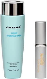 Omiera Revimour Eyelash Growth Enhancer and Brow Serum for Longer Fuller Thicker Looking Eyelashes & Eyebrows and Acdue Acne Dark Spot Face Wash, Acne Pore Cleanser Kit