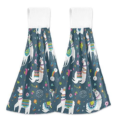Oarencol Toalla de mano de cocina vintage con diseño de cactus, diseño de estrella tropical, alpaca, absorbente, con lazo, para baño, 2 unidades