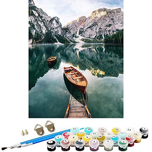 WJGJ Kit de pintura por números para adultos y niños, principiantes, bote en las montañas, lago, pintura al óleo, 50 cm x 40 cm